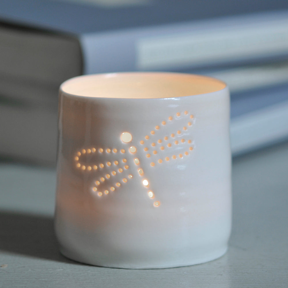 Dragonfly mini porcelain tealight holder