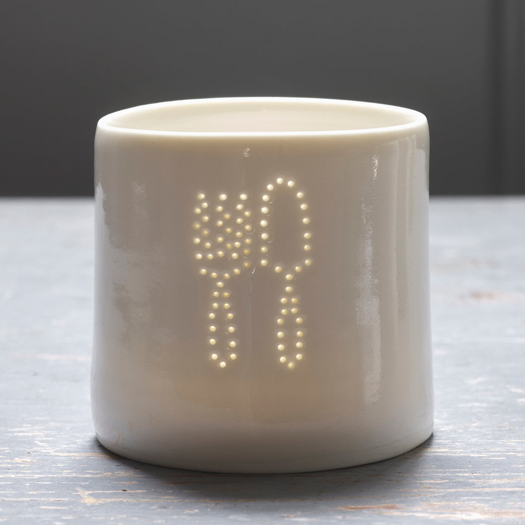 Fork & Trowel mini porcelain tealight holder