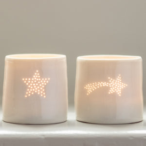 Shooting Star mini porcelain tealight holder
