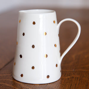 Gold Lustre medium porcelain jug with small spots