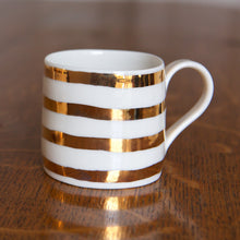 Load image into Gallery viewer, Gold Lustre cup with stripes