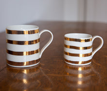 Load image into Gallery viewer, Gold Lustre mug with stripes