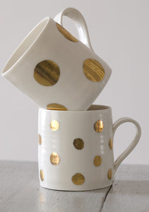 Gold Lustre porcelain mug with medium spots