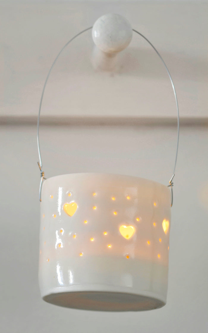 Hearts hanging mini tealight holder