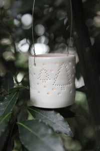 Snowy Forest hanging mini tealight holder