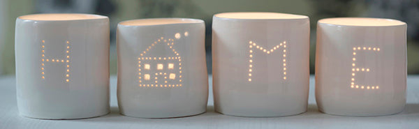 House and Home letter minis tealight holder set
