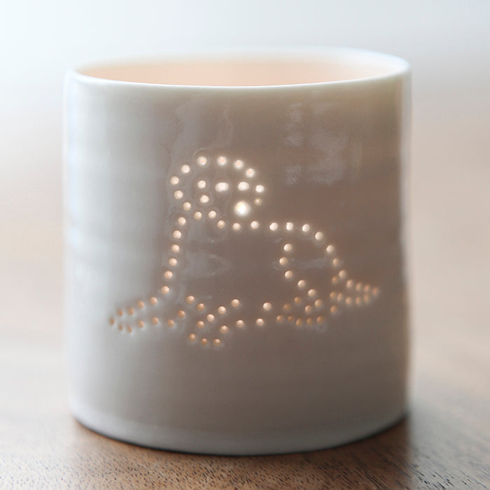 Labrador mini porcelain tealight holder