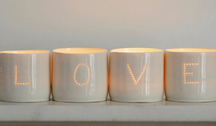 Love letter mini porcelain tealight holder set