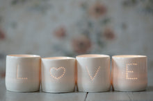 Load image into Gallery viewer, Love Heart letter minis porcelain tealight holder set