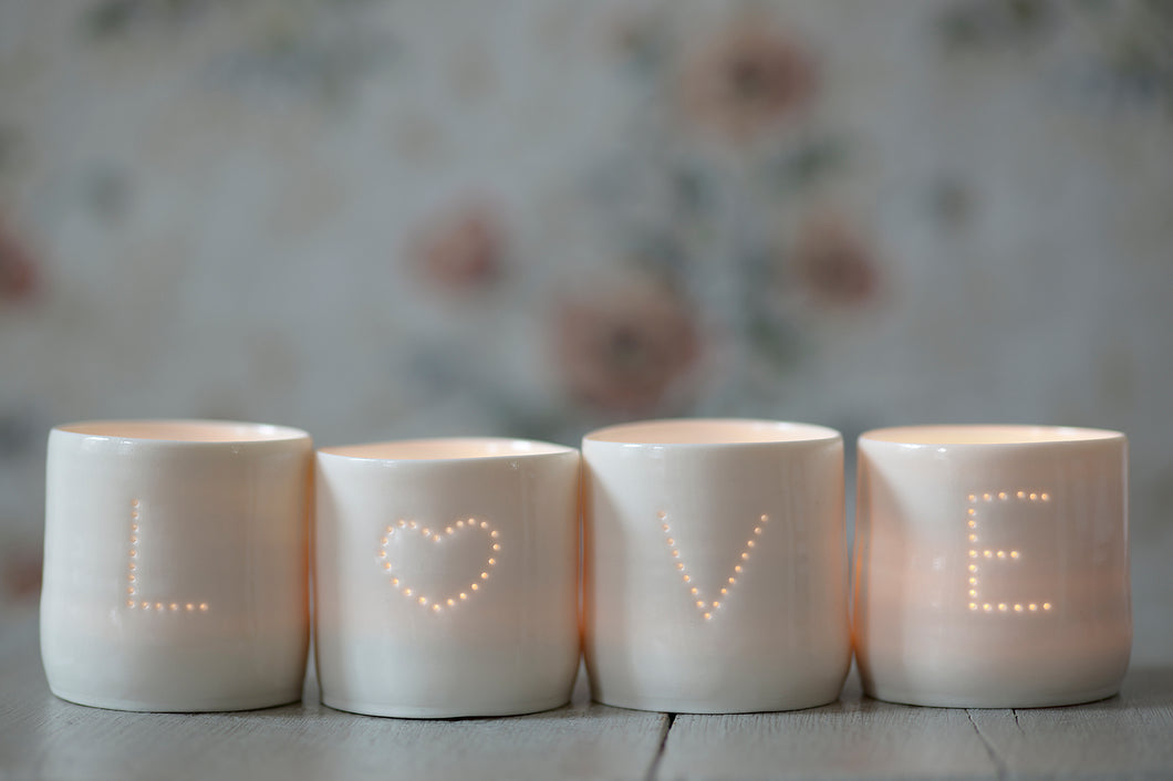 Love Heart letter minis porcelain tealight holder set