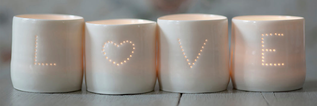 Love Heart letter minis tealight holder set