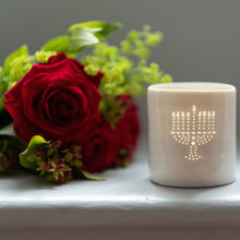 Load image into Gallery viewer, Menorah mini porcelain tealight holder
