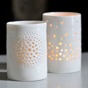 Champagne maxi porcelain tealight holder