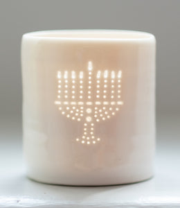 Menorah mini porcelain tealight holder