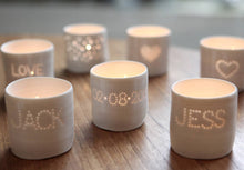 Load image into Gallery viewer, Personalised Porcelain Tea Light Candle Holder