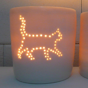 Prowling pussycat mini porcelain tealight holder