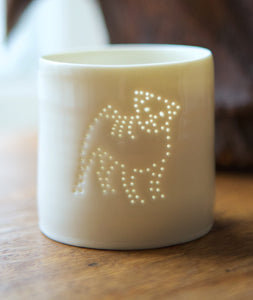 Pug mini porcelain tealight holder