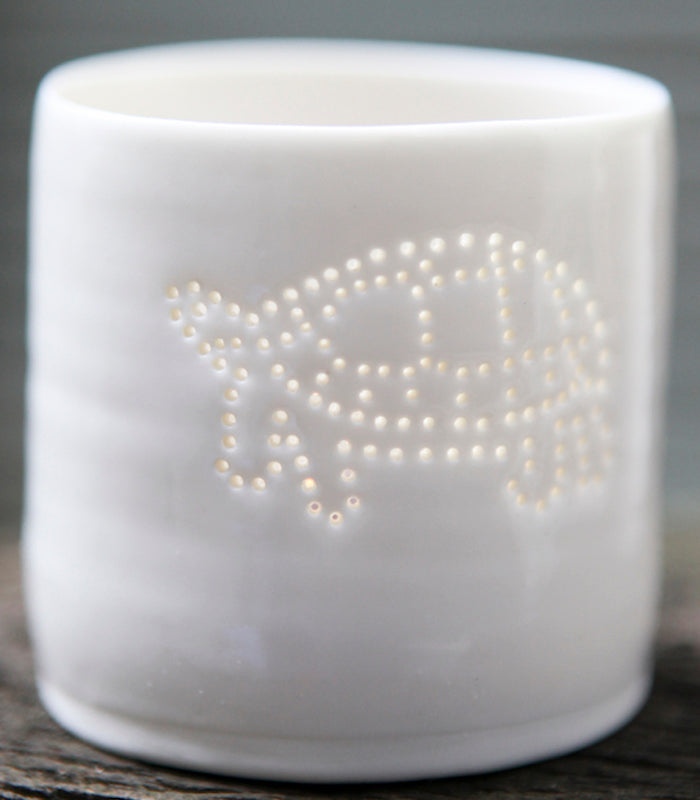 Tortoise mini porcelain tealight holder