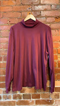 Load image into Gallery viewer, Men's LL Bean Burgundy Turtleneck Long Sleeve Shirt Size L Reg