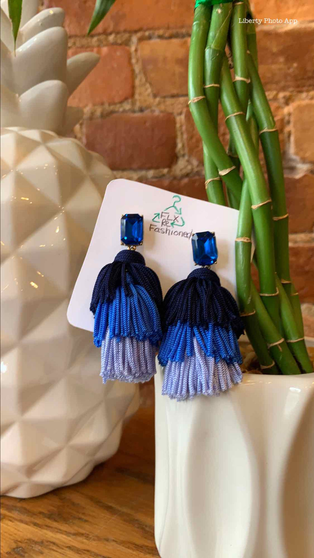 J.Crew Blue Ombre Layered Tassel Thread  Pierced Earrings