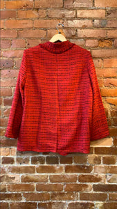 Women's Worthington Rumba Red Tweed Blazer Jacket Size XL