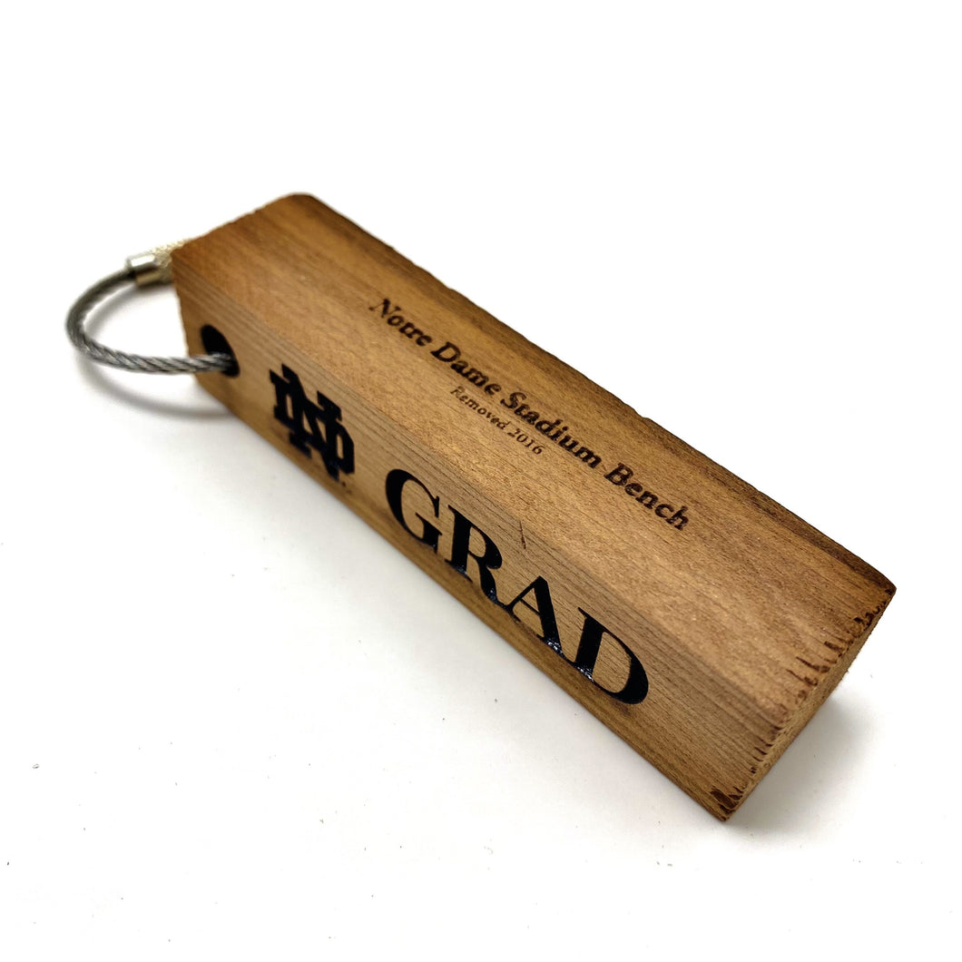 ND Stadium Bench Wood Keychain (Personalized)