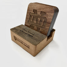 Load image into Gallery viewer, Personalized ND Stadium Wood Coaster Holder