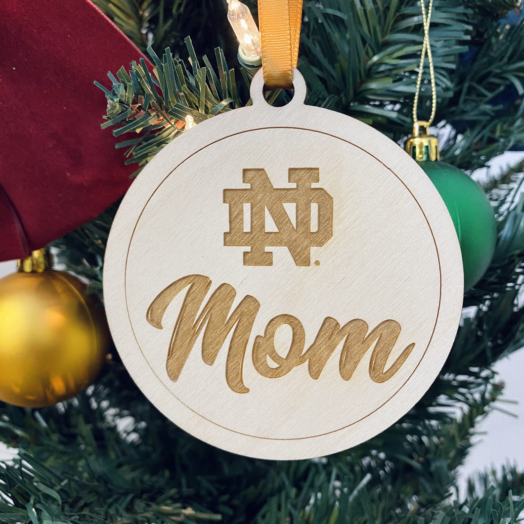 ND Mom Christmas Ornament