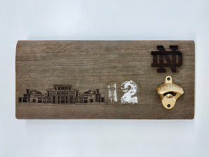 ND Stadium Bench Wood Bottle Opener