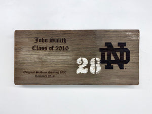 Personalized ND Stadium Bench Plaque