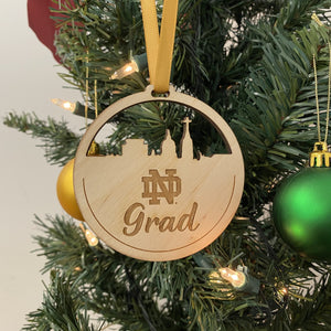 ND Grad Christmas Ornament