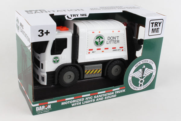 NY32000 NY MOTORIZED GARBAGE TRUCK W/LIGHTS & SOUND & LIFTING TRASH
