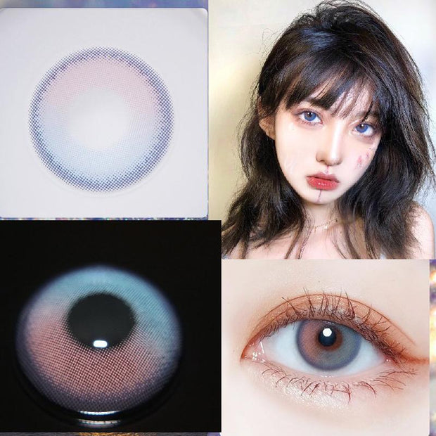 Two-tone red and blue (12 months) contact lenses