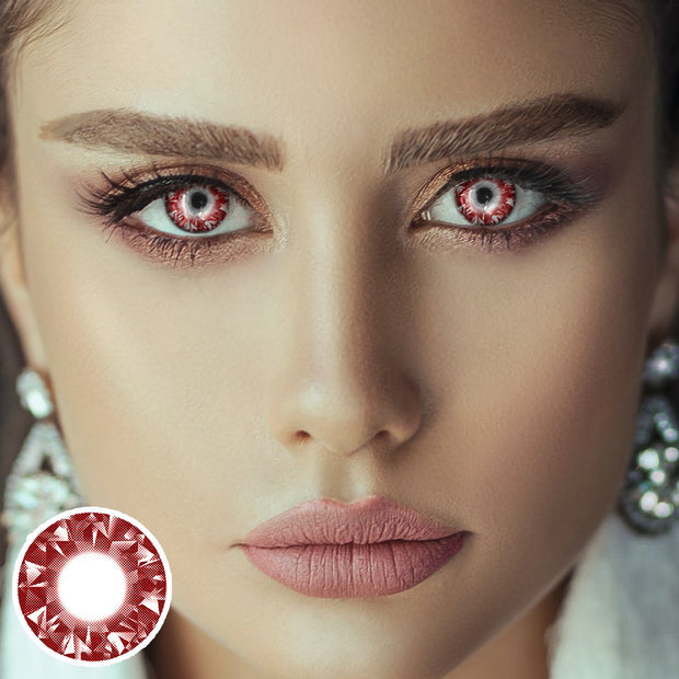 Shiny Red Diamond Contact Lenses