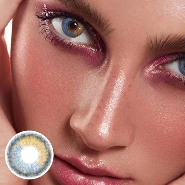 Super Glitter Blue Yellow Contact Lenses