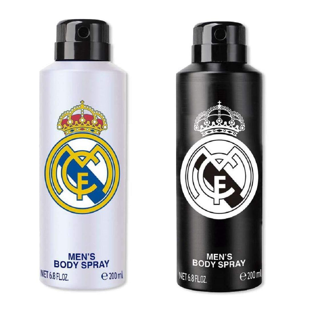 Real Madrid Original Black & White Combo Body Spray - For Men (400ml, Pack Of 2)
