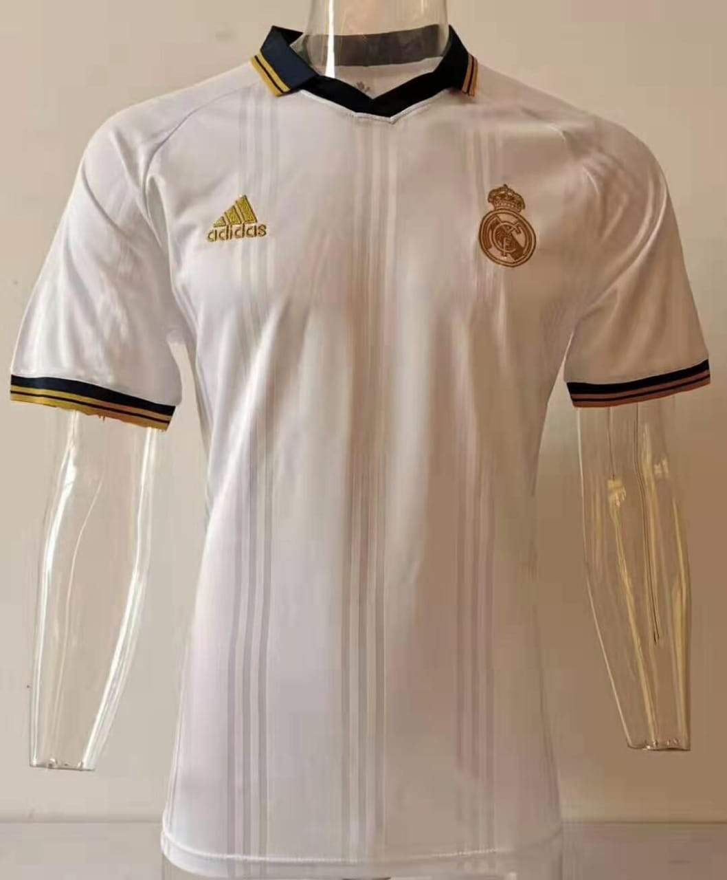 Real Madrid White Strip short sleeves T-Shirt