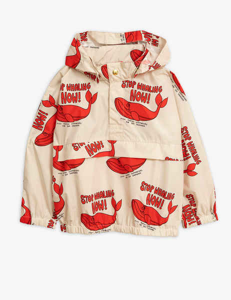 Mini Rodini Sea Shepherd STOP WHALING NOW kid's windbreaker, Red & White