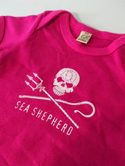Sea Shepherd Jolly Roger Baby T Shirt, organic cotton in Light Blue, Dark Blue or Pink