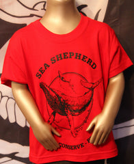 Sea Shepherd Original Classic t-shirt RED Whale Kids Children