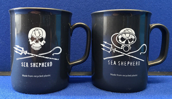 Sea Shepherd Jolly Roger logo 'Non Chip' Mugs made from recycled plastic - Jolly Roger or Diver logo