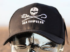 Sea Shepherd Jolly Roger 'black brim' style cap made from Recycled PET bottles