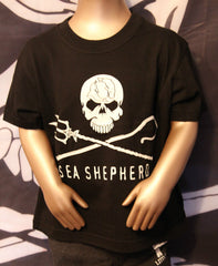 Sea Shepherd Jolly Roger logo & Defending Ocean Wildlife Worldwide Kid's T-Shirt, Black