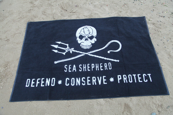 Sea Shepherd Jolly Roger Beach Towel , Large, Skull,  100cm x 150cm organic
