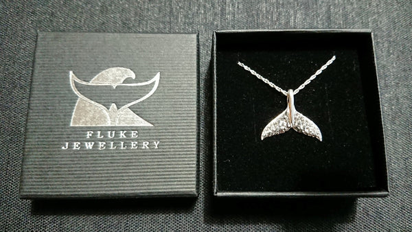 Whale tail pendant in textured Sterling Silver by Fluke Jewellery in Orkney, Scotland