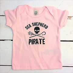 Sea Shepherd Jolly Roger Baby T Shirt, organic cotton in Light Pink