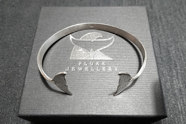 Dolphin tail bangle (polished) in Sterling Silver by Fluke Jewellery in Orkney, Scotland