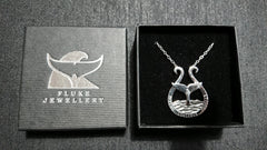 DEFEND CONSERVE PROTECT Whale Tail pendant in Sterling Silver by Fluke Jewellery of Orkney