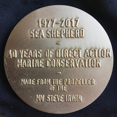 Sea Shepherd Medallion made from the MY Steve Irwin's propellor! in black pouch
