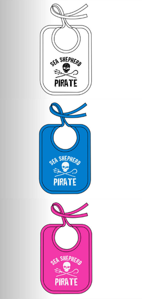 Sea Shepherd Jolly Roger organic cotton Baby Bibs in White, Pink or Blue variants